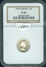 1955 CANADA 10 CENTS  NGC PL66 CAMEO  *