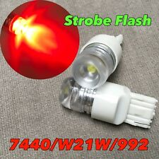 STROBE FLASH Rear Turn Signal T20 7440 7441 992 W21W SMD LED RED Bulb W1 JAE