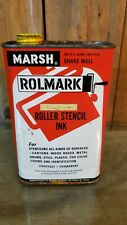 Vintage MARSH ROLMARK Stencil Ink Yellow Full Tin Can Cool Graphics.