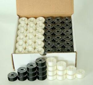 144 x Size A White / Black Prewound Bobbins Embroidery Thread