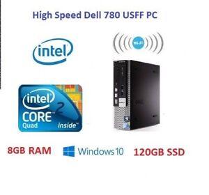 FAST DELL 780 USFF PC Core 2 QUAD Processor 8 GB RAM 120 GB SSD  WINDOWS 10 WIFI