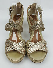 Sperry shoes 7.5 M platinum silver woven leather ankle wrap Harbordale wedges