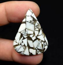 31.20 Cts. Reconstructed Copper White Howlite Pear Cabochon Loose Gemstone
