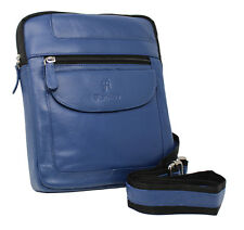 Starhide Vera Pelle Cross Corpo Messenger da Viaggio iPad Tablet Bag 505 Navy Blue