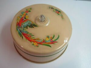 Vintage Metal Cake Cover w/Parrot Decals & Glass Knob--Dome Only--1930-40's