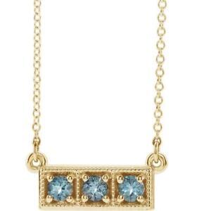 14k Yellow Gold Three Stone Aquamarine Granulated Bar Necklace