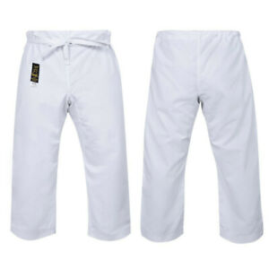Yamasaki Gold Brushed Cotton Canvas Karate Pants 14oz - White - Morgan Sports