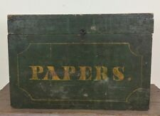 Antique ca1860's Large Document Box Hand Painted Papers Original Maine