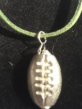 """American Football TG211 English Pewter On 18"""" Green Cord Necklace"""