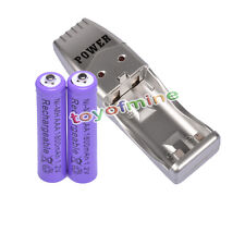 2 AAA NiMH rechargeable battery +USB Charger MP3 purple