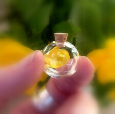10 glass GLOBE vials with cork plug (miniature pendants/ small bottles/balls)