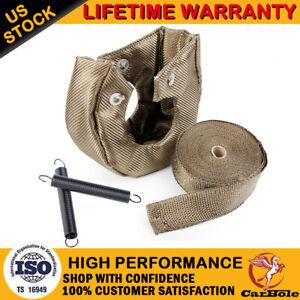 "T6 Titanium Turbo Heat Shield Blanket Cover 2"" Exhaust Header Wrap Tape w/ Ties"