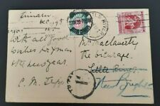 New Zealand Victory Postage Due Postcard Timaru to Little River to New Brighton