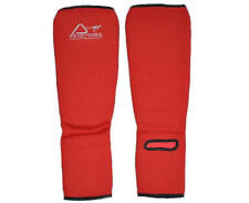 Austodex Shin Instep Protectors Foot Legs Guards Pads Kick Boxing MMA Muay Thai Small Red