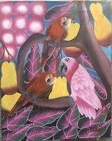 Pink parrots peaches Frantz Laurrnt Laurent Laurant Haiti Haitian painter naiv !