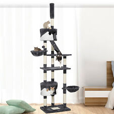 255cm Top Adjustable Cat Tree Tower, Floor to Ceiling High Cat Scratching Posts