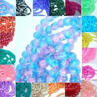 100 X 8mm ROUND GLASS CRACKLE BEADS 33 VARIOUS COLOURS AVAILABLE UK SELLER  B11