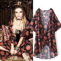 Women Floral Print Chiffon Blouse Loose Shawl Kimono Cardigan Top Cover Up Shirt
