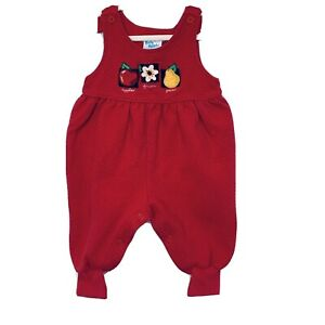 Vintage Oshkosh Baby B'Gosh Quilted Overalls Romper Size 6-9 Mos Apples Flowers