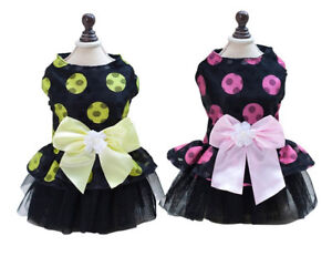 Dog Puppy Dress -Tiny Breeds - Bright Dots w Big Bow - Pink or Yellow - S, M