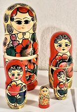 Vintage Russian Nesting Dolls Matryoshka 5Pc Set Hand Painted Wood Babushka Euc