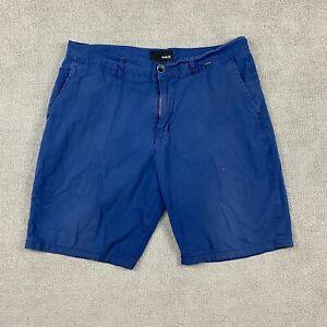 Hurley Men's Chino Shorts Size 33 Navy Blue 100% Cotton Pockets