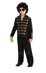 Boys MICHAEL JACKSON Jacket Child Kids Fancy Dress Costume Pop Star Military