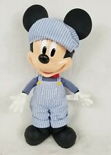 """Disney Talking Mickey Mouse Train Conductor Pull String Plush Toy 12"""" WORKS!!"""