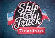 Firestone Tires Rubber Co Ship By Truck Men's Trucker Blue Denim Jean Jacket 3XL