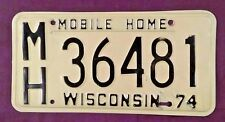 Vintage 1974 Wisconsin Mobile Home RV License Plate Black on Yellow Very Nice!