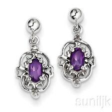 Pendientes de joyería con gemas de plata de ley amatista diamante