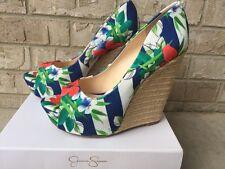 Jessica Simpson JS- Bethany Blue Stripe Multi Tropical Flor Stripe Size 7.5W