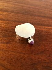 MEXICAN STERLING SILVER MODERNIST PERFUME BOTTLE W/ AMETHYST TOPPED DABBER