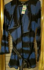 INC Royal Blue/Blk SWEATER COAT Wrap Belted Tie Cardigan Knit Women (L)  NWT