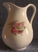 VINTAGE BURLEIGH WARE LARGE CERAMIC PITCHER ROSES STAFFORDSHIRE ENGLAND (172)