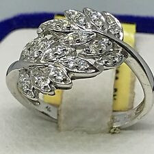 18K(750) White Gold~ .23CT~ APPROX G-H/VS2-SI1 Diamond Leaves Cocktail Ring.