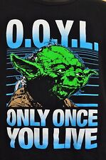 Star Wars Shirt Top Yoda Only Once You Live L Black Short Sleeve Movie TShirt
