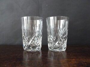 2x Vintage Lens Cut Crystal Whisky/Water/GT Glasses, h10,6cm