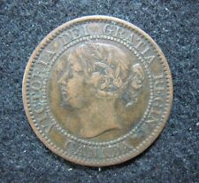 1859/8 Wide 9/8 Canada One Cent Coinage Struck Fine - VF Coin, Rare Key Series !