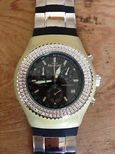 Nuevo - Reloj Watch AQUAMARIN - Diamonds bezel - Chrono Quartz - Rubber strap