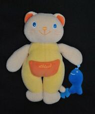 Peluche doudou ours chat CHICCO jaune poche orange poisson bleu 24 Cm Hochet