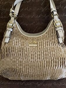 COACH MADISON MAGGIE GATHERED SIGNATURE LT/KHAKI/PARCH PLEATED SHOULDER BAG,NWT