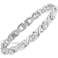 LADIES MAGNETIC HEALING BRACELET SILVER WHITE CRYSTALS BANGLE ARTHRITIS PAIN 39