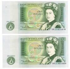 ENGLAND Pair of 1 Pound aUNC Banknotes (1978) P-377b Paper Money DR11 Prefix