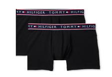 $59 Tommy Hilfiger Underwear Men Black Stretch 2-Pack Boxer Brief Trunks Size L