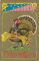 THANKSGIVING – Turkey Holding Basket Patriotic Postcard - 1908