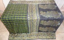 Pure silk Antique Vintage Sari HUCE LOT 4y F24 267 Yellow Black DECOR #ABFF9