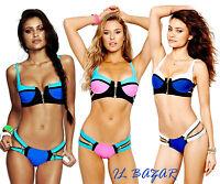 bikini costume donna mare piscina spiaggia zip color block 3 varianti tg S,M,L