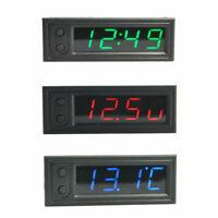 Auto KFZ 3in1 Digital Uhr Clock LCD Innen Thermometer Voltmeter Multifunktion DE