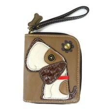 New Chala ZIP AROUND WALLET Credit Card Faux Leather BEAGLE DOG Brown Wristlet